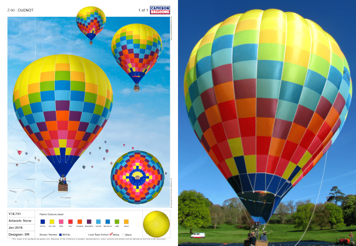 Maquette de l'enveloppe Cameron Balloons type z pour les particuliers